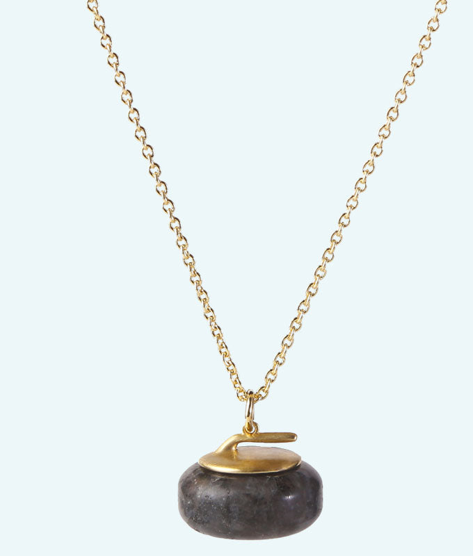 Granite Stone Curling Rock Necklace - In 3D