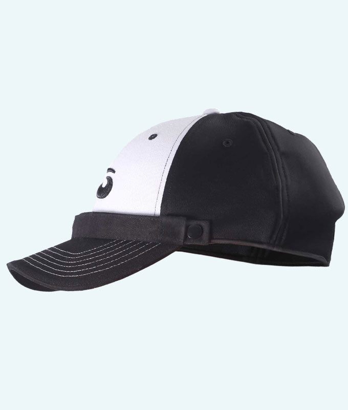 Protective Curling Headgear: Baseball Hat - Black with White