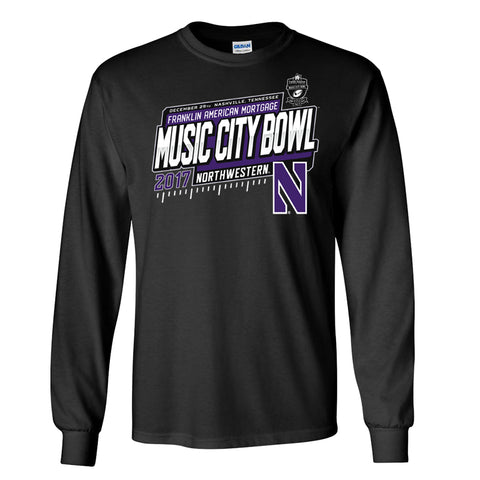 2017 Music City Bowl Northwestern Men's Cotton Long Sleeve Tee
