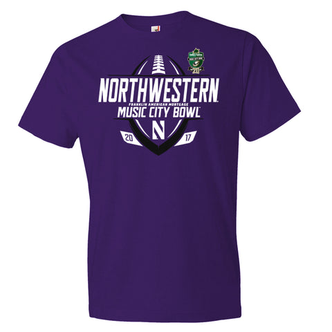 2017 Music City Bowl Northwestern Men's Cotton Short Sleeve Tee
