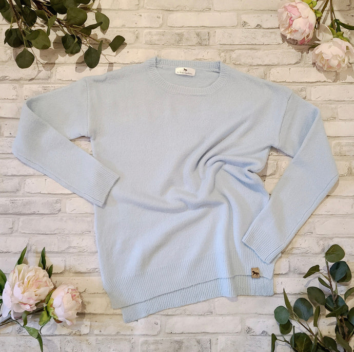 BLISSFUL BLENHEIM KNIT SWEATER - Sky Blue