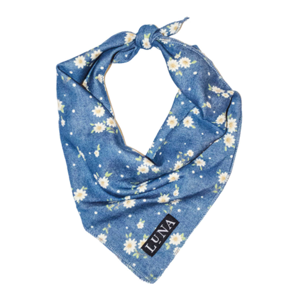 White and blue flower dog bandana