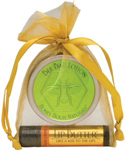 Honey House Naturals - 2 Piece Gift Set - Small Bee Bar and Lip Butter
