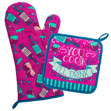 Wine & Dine Oven Mitt Set