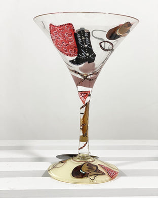 Western Painted Martini Glass