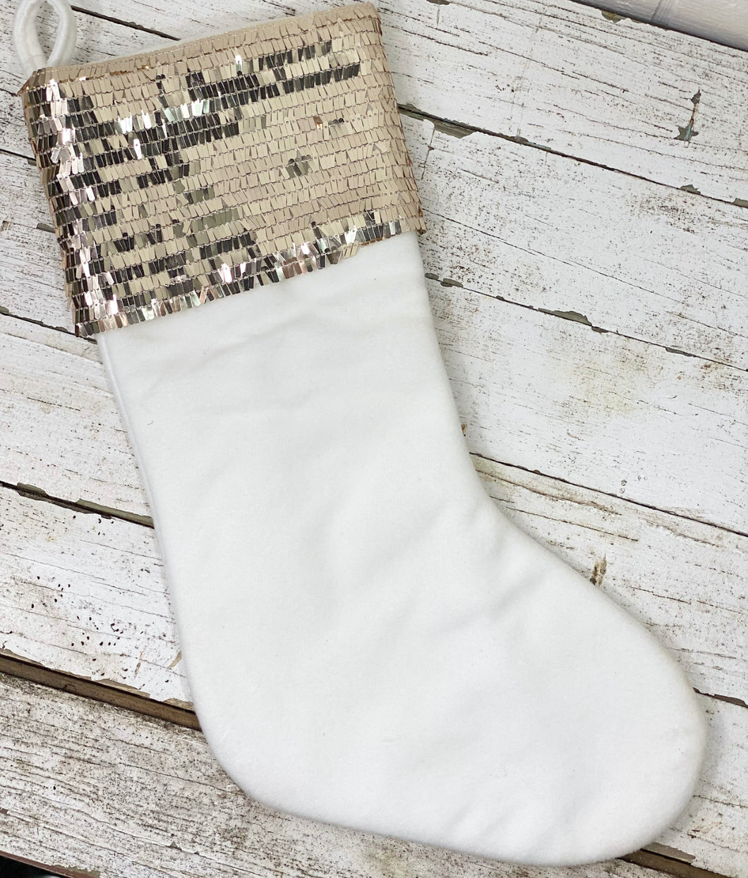 Winter White Sequined Stocking