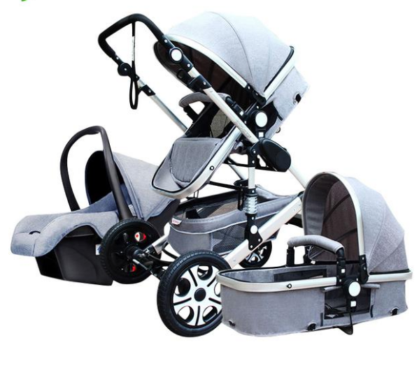 Baby Stroller 3 in 1 With Car Seat High Landscope & Suspension