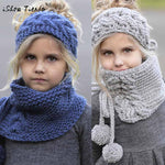 Winter Wool Knitted Handmade Hat & Scarf Girls 2-9Years