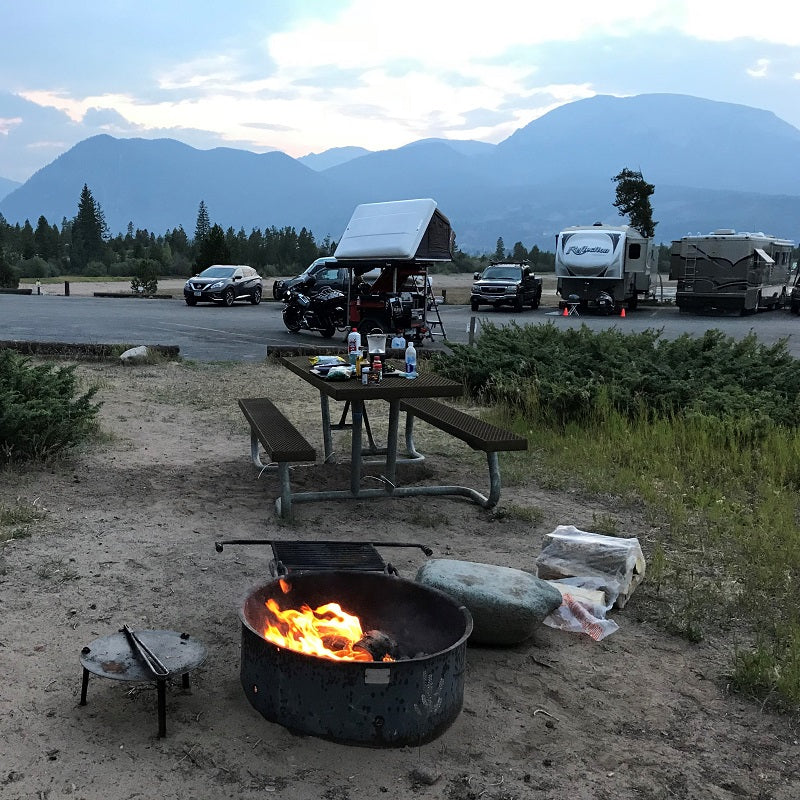 Fire camping in the Rocky Mountains Colorado