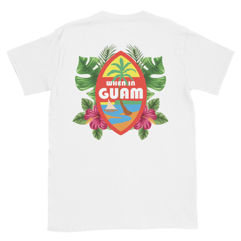 When In Guam Seal Floral Tee: White and Black