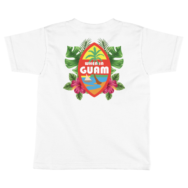 Kids When In Guam Seal Floral Tee: White and Black