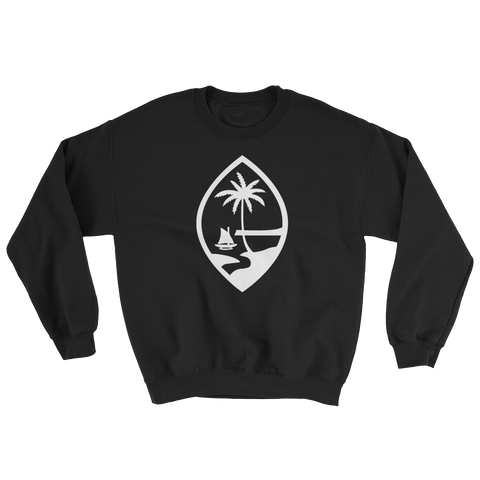 Guam Seal Crew Neck Sweat Shirt: Black