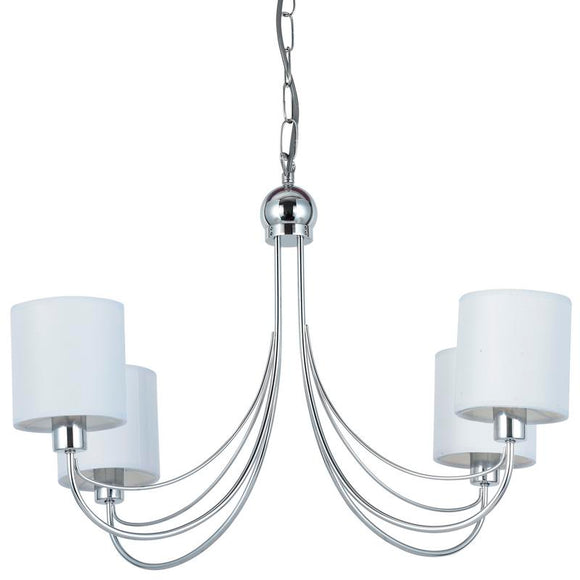 Figaro 4 light pendant chrome with white shades
