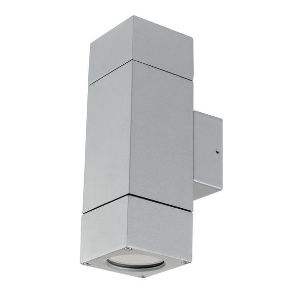 Prairie block up/down wall light silver
