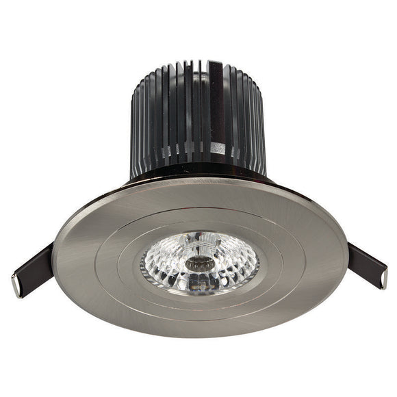 Luxor LED round fixed downlight 12W cool white 4000K brushed nickel