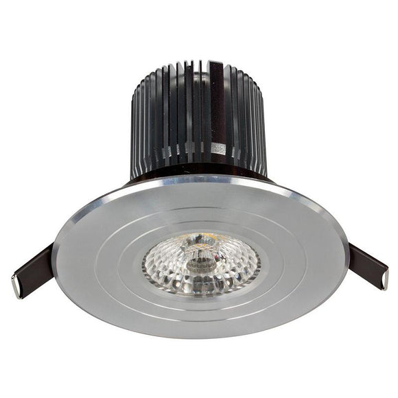 Luxor LED round fixed downlight 12W cool white 4000K anodised aluminium