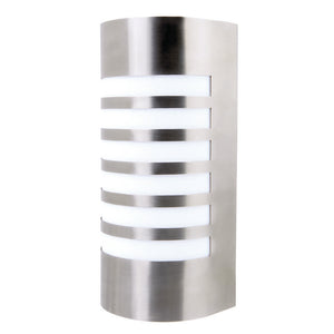 Lancet curved wall light with grill stainless steel