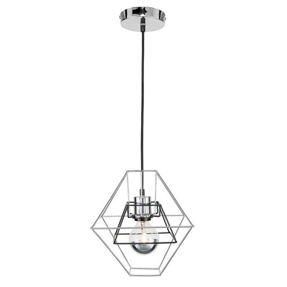 Chime double cage two tone pendant chrome/black
