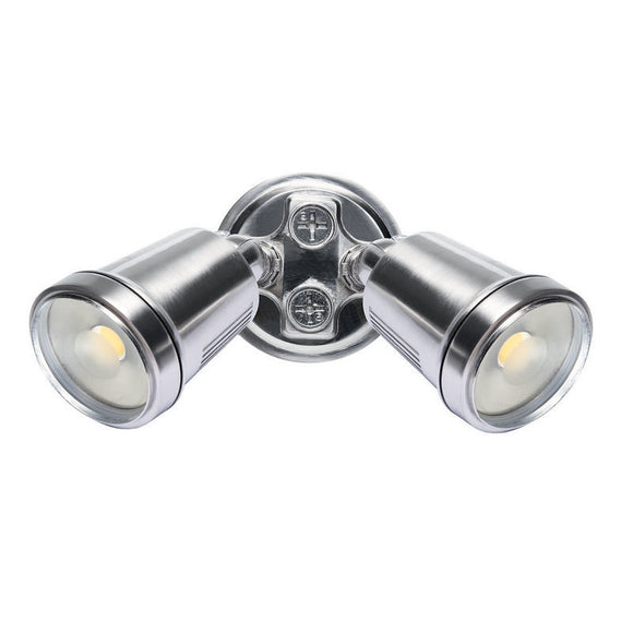 Hunter-III 2 light LED floodlight satin nickel