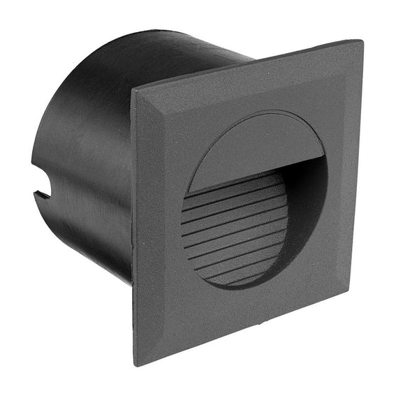 Lachlan aluminium LED square step light charcoal