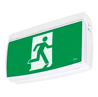 One-box 2W exit sign with 1W emergency downlight