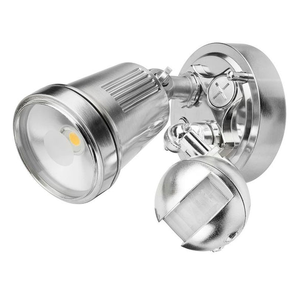 Hunter-III 1 light LED floodlight with sensor satin nickel