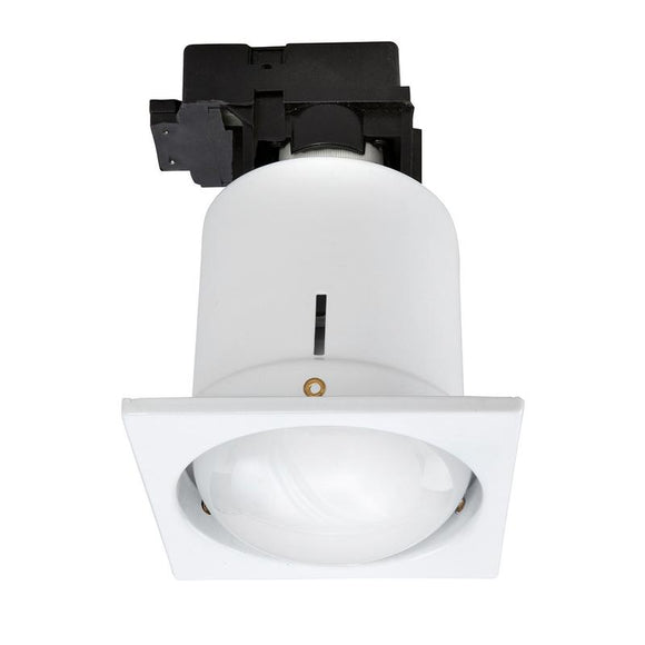 Uni-6 large square CFL downlight with R80 CFL brushed steel