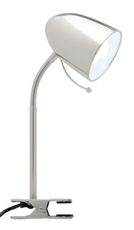 Sara E27 clamp lamp brushed chrome