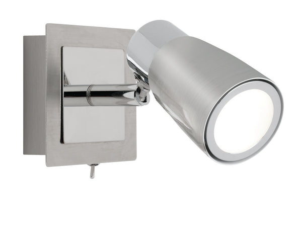 Alecia 1 light spotlight with switch and globe brushed chrome