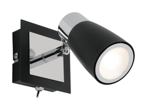 Alecia 1 light spotlight with switch and globe black