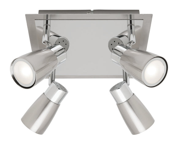 Alecia 4 light spotlight plate and globe brushed chrome
