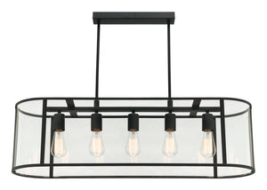 Liverpool 5 light pendant black