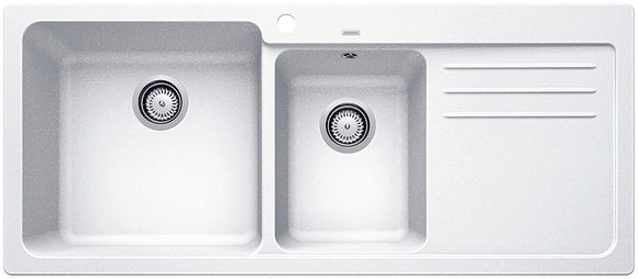 Blanco NAYA8SWK5 white double bowl inset sink