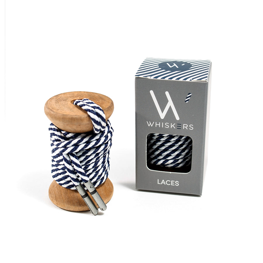 Whiskers Navy and White Dress Shoelaces 33