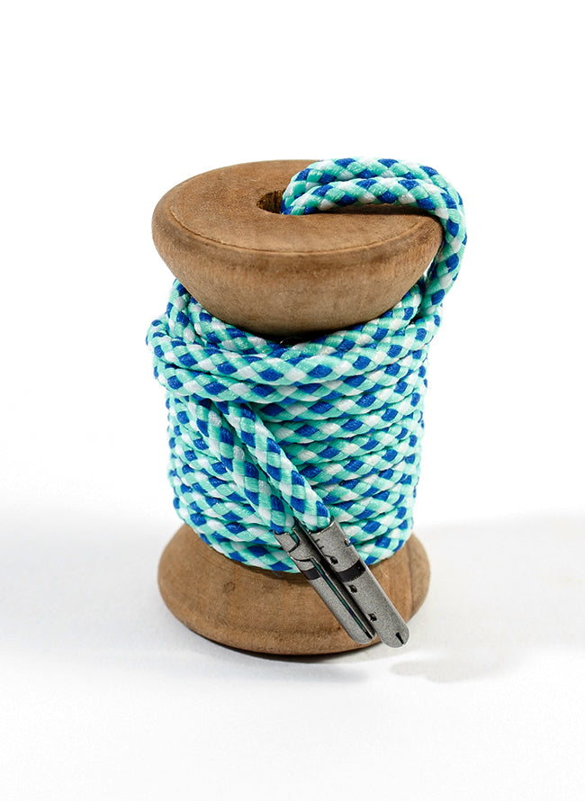 Blue, Light Green & White Braided Dress Laces