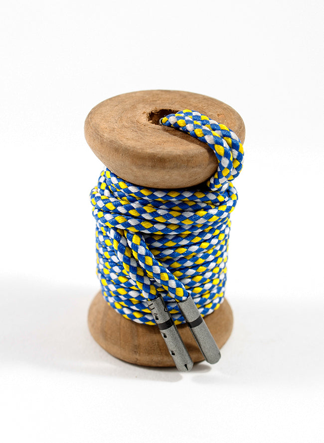 Blue, Yellow & White Braided Dress Laces