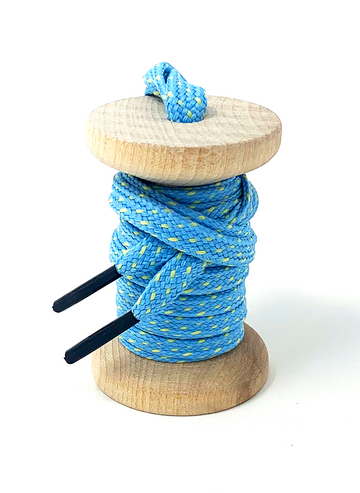 Carolina Blue & Maize Flat Ticked Sneaker Laces