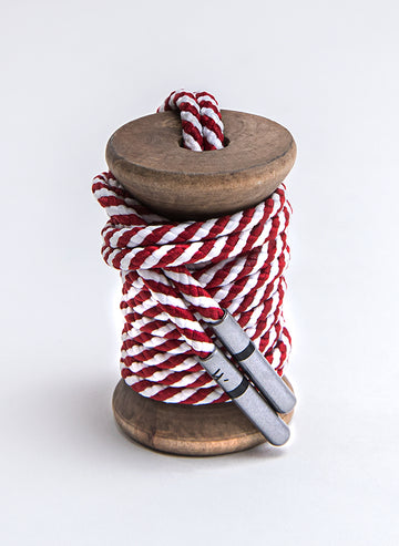 Crimson & White Striped Dress Laces