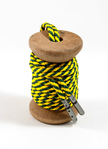 Dark Green & Yellow Striped Dress Laces