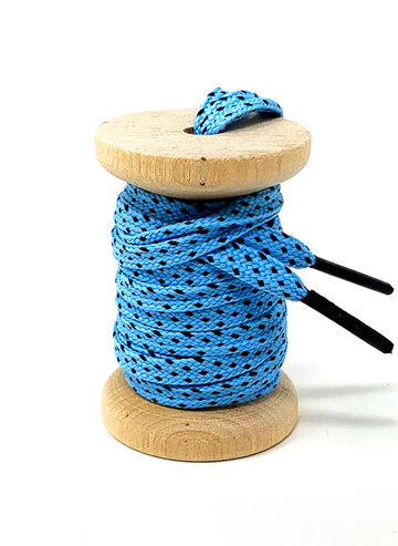 Light Blue & Black Flat Ticked Sneaker Laces