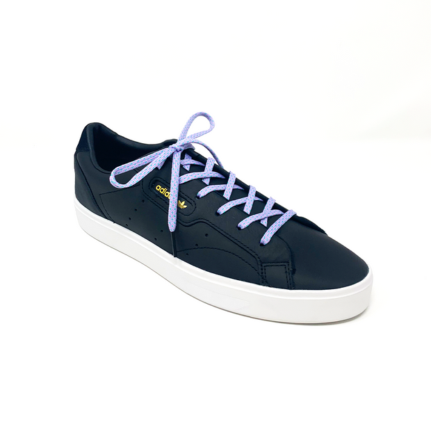 Lavender & Electric Green Flat Ticked Sneaker Laces 1