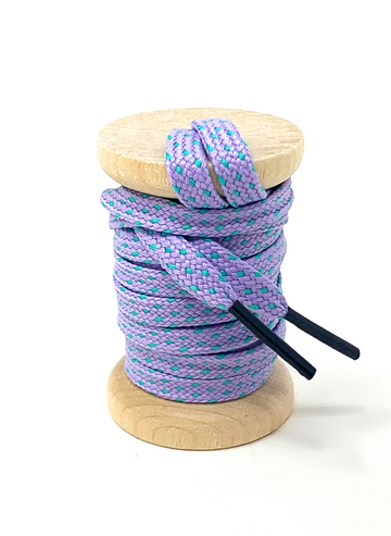 Lavender & Electric Green Flat Ticked Sneaker Laces