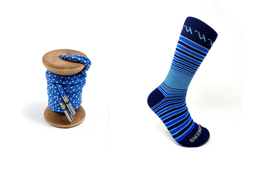 Blue & White Ticked Dress Laces + Blue, Light Blue & Navy Striped Jacques Sock
