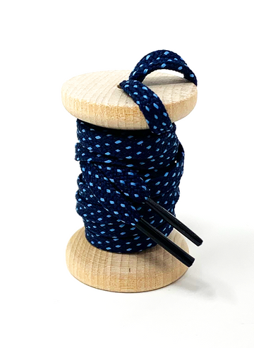 Navy & Light Blue Flat Ticked Sneaker Laces