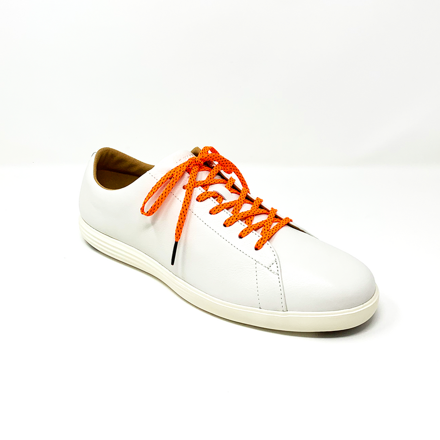 Neon Orange & Navy Flat Ticked Sneaker Laces