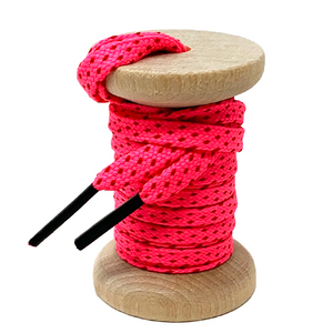 Neon Pink & Red Flat Ticked Sneaker Laces
