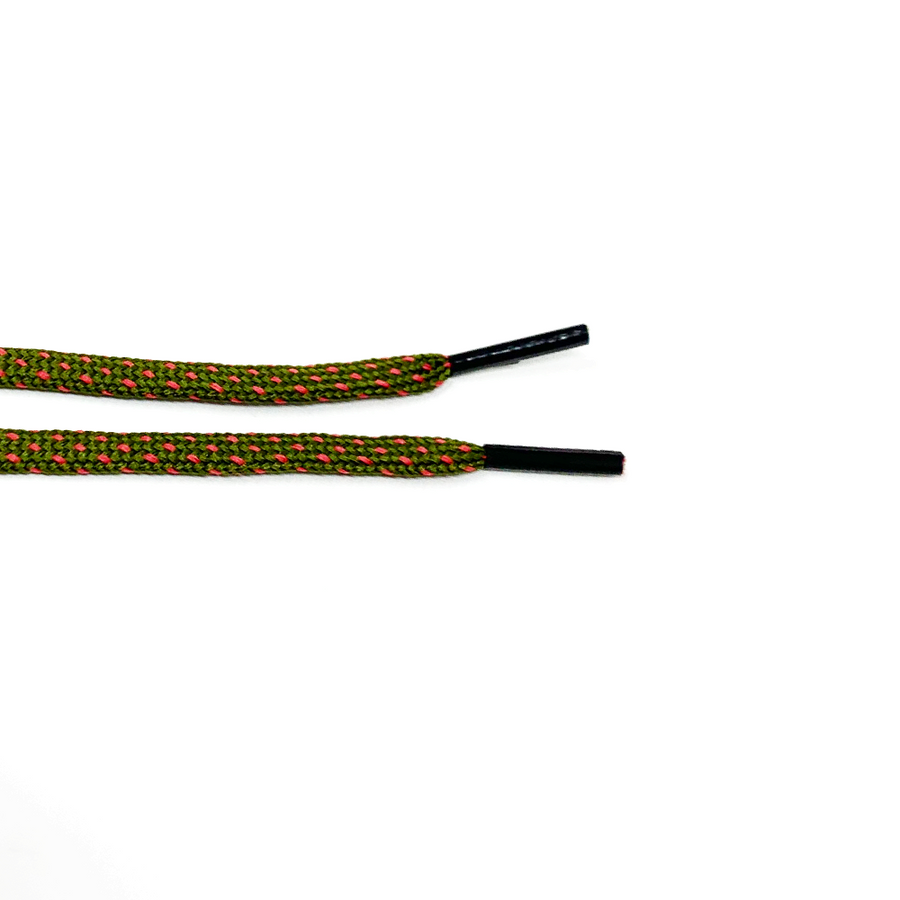 Olive Green & Guava Flat Ticked Sneaker Laces