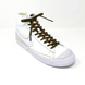 Olive Green & Guava Flat Ticked Sneaker Laces 1