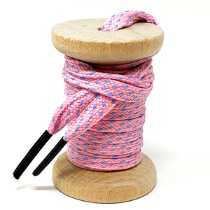 Pink & Light Blue Flat Ticked Sneaker Laces