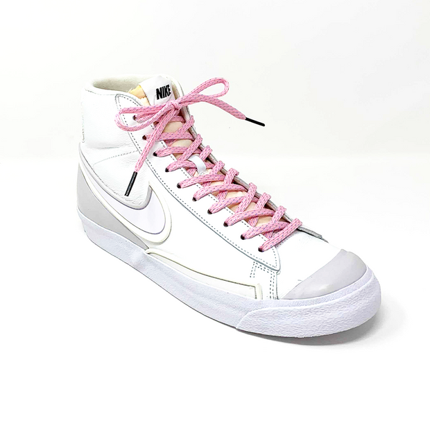 Pink & Light Blue Flat Ticked Sneaker Laces 1